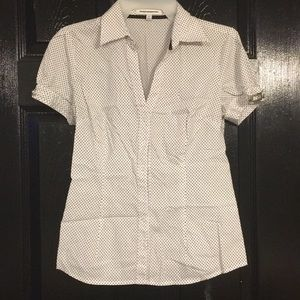 Express S. Black and white polka dot button up.